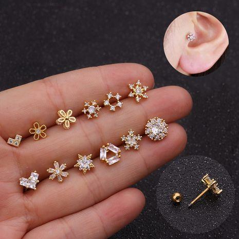 Creative snowflake zircon ear bone nail micro-inlaid zircon earrings NHEN253465's discount tags