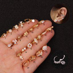 piercing micro-inlaid zircon  earrings  NHEN253466