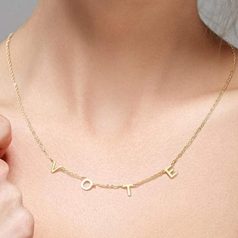 vote copper chain letter necklace ladies clavicle chain wholesale NHLL252536's discount tags