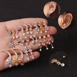 Korean  new stainless steel zircon earrings  NHEN253468