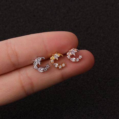 Venta caliente piercing pendientes de tornillo de acero inoxidable con orejas de circonita estrella de cinco puntas NHEN253469's discount tags