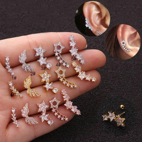 Boucles d'oreilles créatives coréennes en zircon étoile à cinq branches NHEN253470's discount tags