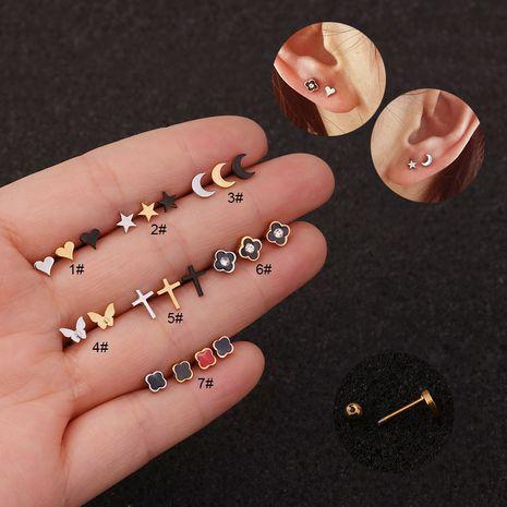 boucles d'oreilles en acier inoxydable percé petit os d'oreille NHEN253471's discount tags