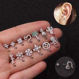 Creative flower ear bone nails stainless steel zircon earrings  NHEN253472