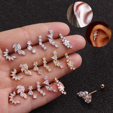 New leaf stainless steel earrings five-pointed star zircon earrings NHEN253473's discount tags