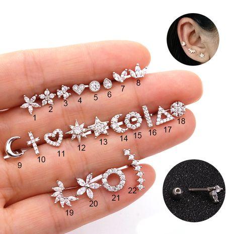 Boucles d'oreilles en zircon micro-incrustées en acier inoxydable de vente chaude NHEN253475's discount tags