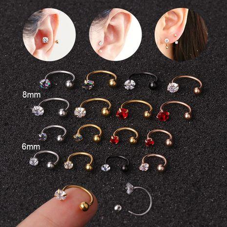 vente chaude piercing zircon C-type nez clou boucles d'oreilles à vis en acier inoxydable NHEN253476's discount tags
