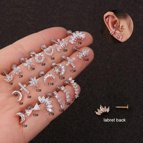 clous d'oreille plats en acier inoxydable clous à lèvres boucles d'oreilles percées NHEN253480's discount tags
