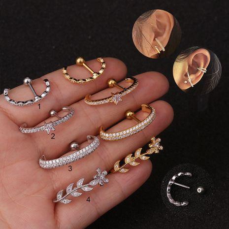 nouvelles boucles d'oreilles en acier inoxydable à ongles longs en zircon exagérés NHEN253483's discount tags