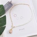 Fashion natural shell pearl pendant creative asymmetrical womens necklace NHLA253497
