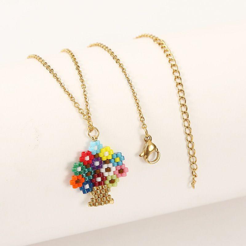 Fashion handmade woven rice bead tree pendant womens necklace wholesale NHLA253499