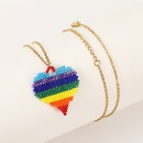Fashion handwoven rice bead love  pendant womens necklace NHLA253504