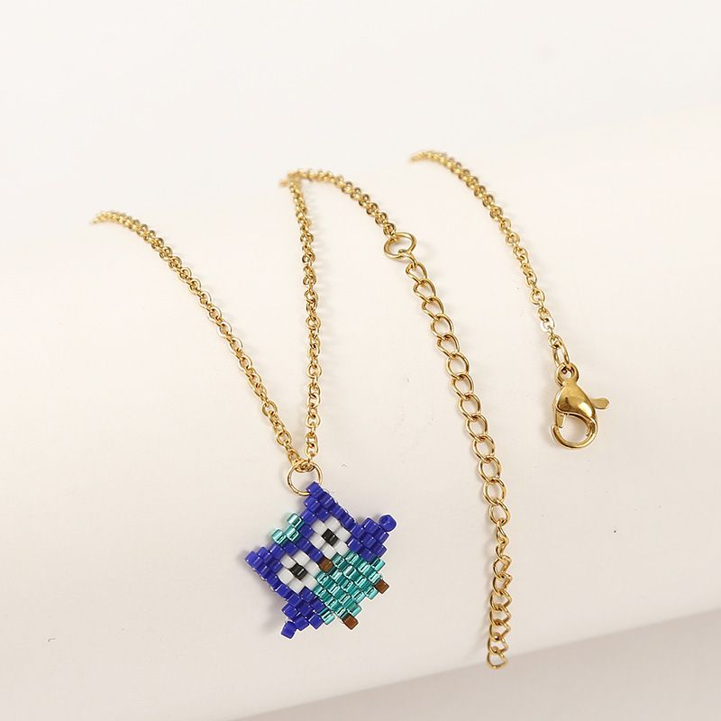 Fashion handwoven owl  rice bead animal pendant womens necklace  NHLA253507