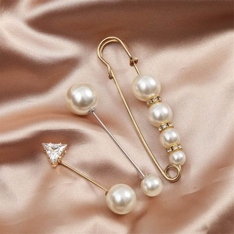 simple long rhinestone pearl suit brooch female creative trend anti-fade cuff pin NHLA253505's discount tags