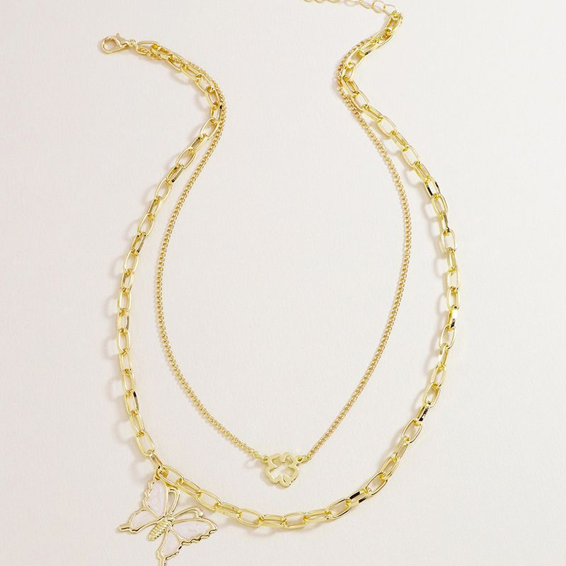 Hot Selling Fashion  Double Butterfly Pendant women's Necklace  NHGU253560