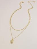 Fashion doublelayer gold coin pendant womens necklace wholesale NHGU253566