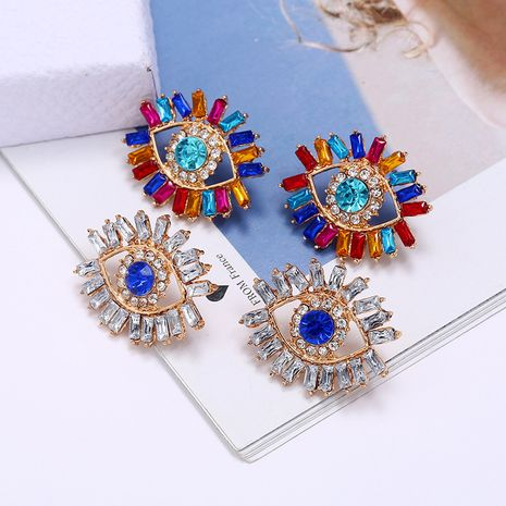 hot-selling alloy inlaid colored diamonds Devil's eye fashion earrings wholesale NHLN253575's discount tags