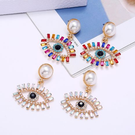 fashion exaggerated devil's eye pearl alloy inlaid colored diamonds earrings wholesale NHLN253577's discount tags