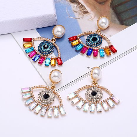 exaggerated devil's eye pearl alloy inlaid colored diamonds earrings wholesale NHLN253576's discount tags