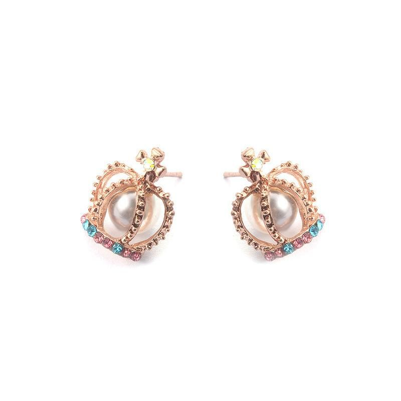 Earrings pearl cross earrings colored diamond crown earrings women's earrings NHCU192702