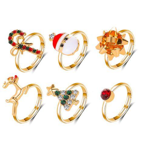 Christmas  cute cartoon elk Christmas  6-piece drip adjustable ring wholesale NHDP253075's discount tags