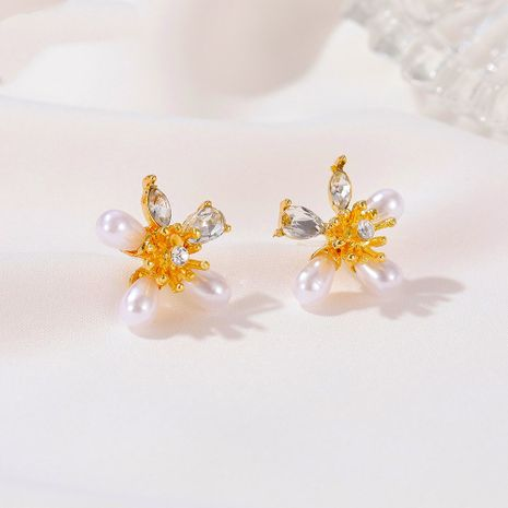 Beautiful pearl flower earrings sweet small fresh five petal flower earrings NHDP253080's discount tags
