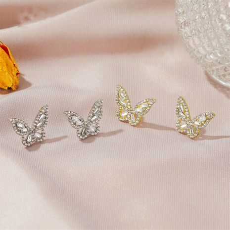 Simple zircon butterfly women's gentle ladies style crystal earrings NHDP253095's discount tags