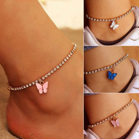Fashion shiny rhinestone butterfly pendant alloy anklet foot ornaments wholesale NHDP253098's discount tags