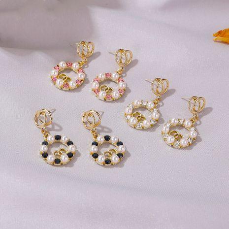 Nouvelle perle coréenne double bague rétro boucles d'oreilles diamant rond en gros NHDP253101's discount tags