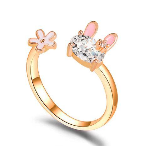 Corée mignon lapin doux fille coeur fleur bague en gros NHDP253107's discount tags