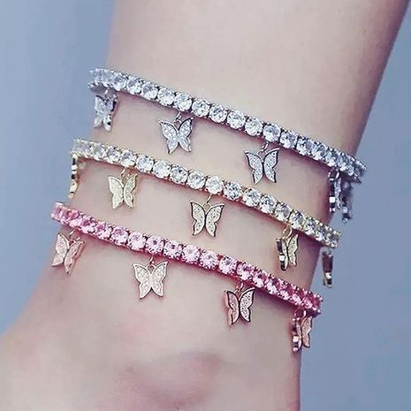 Creative rhinestone small butterfly anklet  tassel foot decoration wholesale NHDP253121's discount tags
