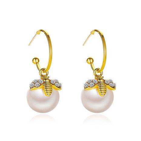 Nouvelle vente chaude coréenne boucles d'oreilles perle abeille en gros NHDP253126's discount tags