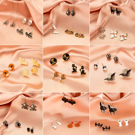 Halloween bat skull funny set earrings wholesale nihaojewelry NHDP253132's discount tags
