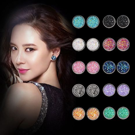 Geometric round frosted dream starry sky time gems starry stainless steel earrings  NHDP253134's discount tags