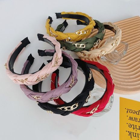 Korean alloy chain braided wide-brimmed  anti-slip headband wholesale NHSM253145's discount tags