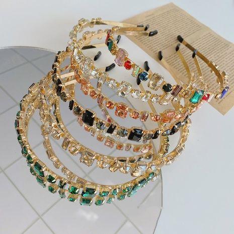 Diadema lateral delgada de aleación de diamante completo barroco de diamante completo coreano al por mayor NHSM253168's discount tags