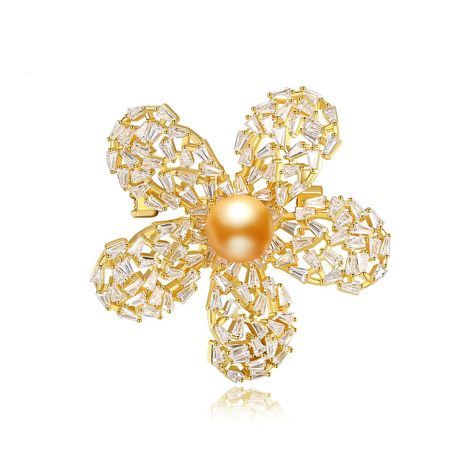 cute pearl brooch copper inlaid zirconium clothing ladies brooch wholesale NHTM253195's discount tags