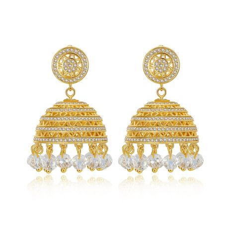 Retro Lantern Zircon Luxury Tassel women's Earrings wholesale NHTM253199's discount tags