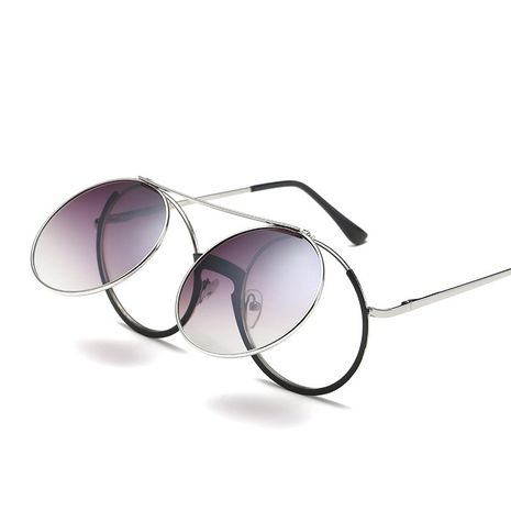Retro punk rock flip flat mirror metal fashion sunglasses for women NHFY253281's discount tags
