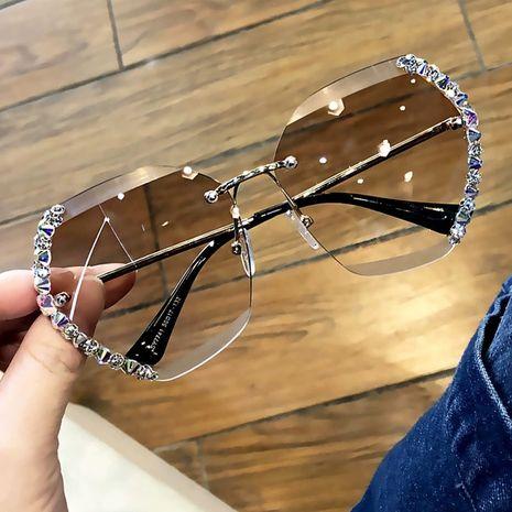 Randlose Diamant Sonnenbrille Polygon Sonnenbrille Stück Farbverlauf Brille NHKD253292's discount tags