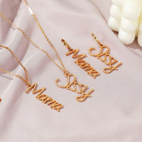 Fashion English letter  necklace  earrings suit jewelry NHDP253109's discount tags