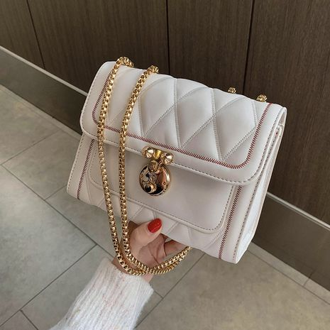 Lingge embroidery thread new trendy fashion chain shoulder messenger small square bag NHLH253586's discount tags