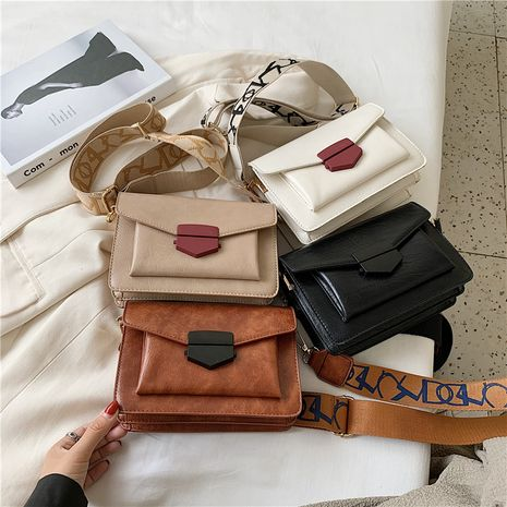 Fashion retro one-shoulder small square bag  casual color contrast wide shoulder strap messenger bag NHLH253602's discount tags