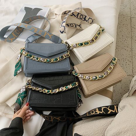 Summer all-match crocodile pattern silk scarf chain  shoulder one shoulder messenger small square bag NHLH253603's discount tags