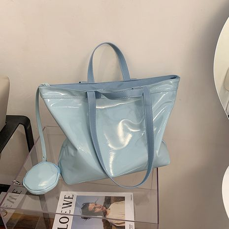 Fashion patent leather handbag shoulder bag women simple casual large capacity solid color  bag NHLH253604's discount tags