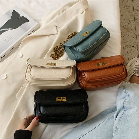 New summer rhombic chain shoulder bag solid color lock messenger bag NHLH253614's discount tags
