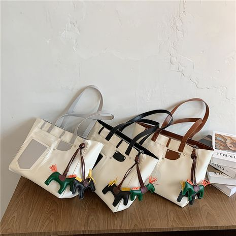 New summer   fashion canvas shoulder bag women's large capacity all-match  bag NHLH253616's discount tags