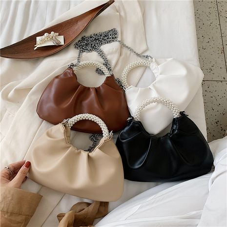 New trendy folds chain messenger bag   wild pure color texture pearl cloud handbag NHLH253617's discount tags