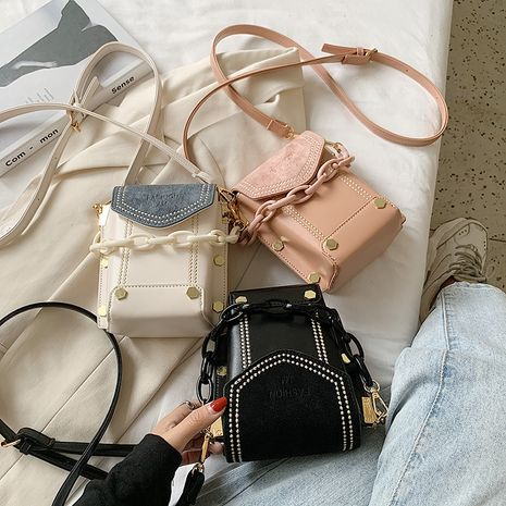 Bolso de mensajero de un solo hombro del todo-fósforo de la moda retro del verano bolso del cubo de la cadena del remache NHLH253618's discount tags