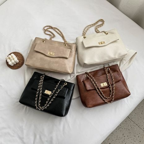 Summer wild large-capacity new fashion solid color chain lock single shoulder messenger bag NHLH253620's discount tags